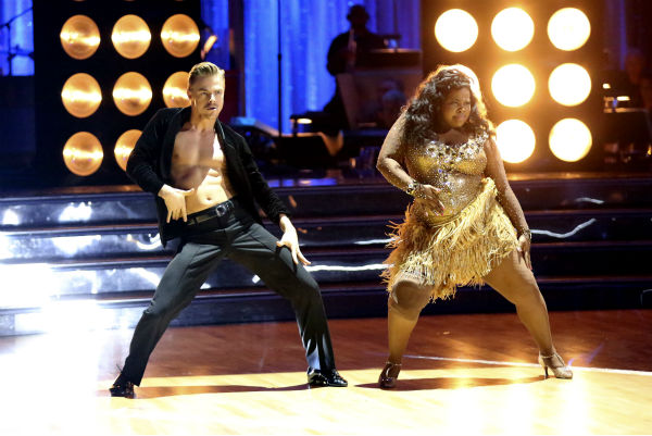 "<div class=""meta image-caption""><div class=""origin-logo origin-image ""><span></span></div><span class=""caption-text"">Amber Riley and Derek Hough dance the Samba on week six of 'Dancing With The Stars' on Oct. 21, 2013. They received 28 out of 30 points from the judges. The two received 4 out of 4 extra points from the 'Switch-Up Challenge.' (ABC / Adam Taylor)</span></div>"
