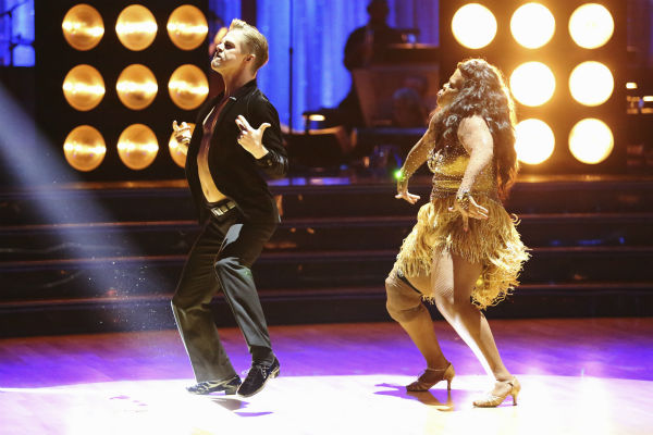 Amber Riley and Derek Hough dance the Samba on week six of &#39;Dancing With The Stars&#39; on Oct. 21, 2013. They received 28 out of 30 points from the judges. The two received 4 out of 4 extra points from the &#39;Switch-Up Challenge.&#39; <span class=meta>(ABC &#47; Adam Taylor)</span>