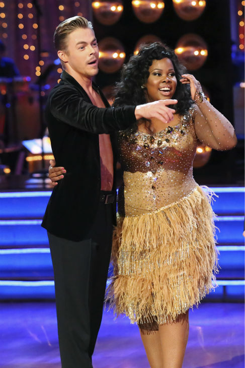 "<div class=""meta image-caption""><div class=""origin-logo origin-image ""><span></span></div><span class=""caption-text"">Amber Riley and Derek Hough danced the Samba on week six of 'Dancing With The Stars' on Oct. 21, 2013. They received 28 out of 30 points from the judges. The two received 4 out of 4 extra points from the 'Switch-Up Challenge.' (ABC / Adam Taylor)</span></div>"