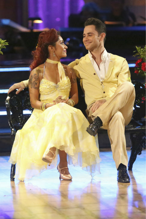 Nicole &#39;Snooki&#39; Polizzi and Sasha Farber dance the Foxtrot on week six of &#39;Dancing With The Stars&#39; on Oct. 21, 2013. They received 27 out of 30 points from the judges. The two received 3 out of 4 extra points from the &#39;Switch-Up Challenge.&#39; <span class=meta>(ABC &#47; Adam Taylor)</span>