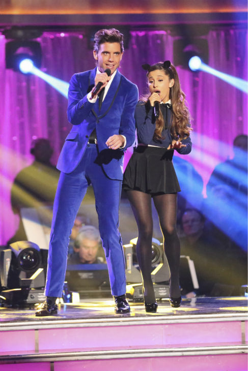 "<div class=""meta ""><span class=""caption-text "">Musical guest Ariana Grande and Mika perform their hit duet 'Popular' on ABC's 'Dancing With The Stars' appears on week 6 on Oct. 21, 2013.  (ABC / Adam Taylor)</span></div>"