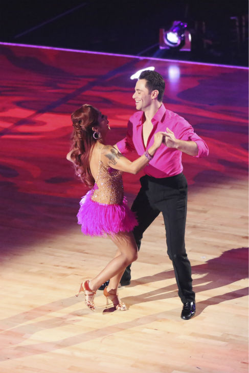 Nicole &#39;Snooki&#39; Polizzi and Sasha Farber dance during the &#39;Switch-Up Challenge&#39; on week six of &#39;Dancing With The Stars&#39; on Oct. 21, 2013. They received 3 out of 4 extra points. Earlier, they were given 27 out of 30 points for their Foxtrot. <span class=meta>(ABC &#47; Adam Taylor)</span>