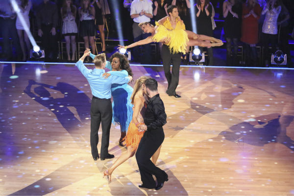 "<div class=""meta image-caption""><div class=""origin-logo origin-image ""><span></span></div><span class=""caption-text"">Amber Riley and Derek Hough, Elizabeth Berkley and Val Chmerkovskiy and other contestants dance during the 'Switch-Up Challenge' on Oct. 21, 2013. (ABC / Adam Taylor)</span></div>"