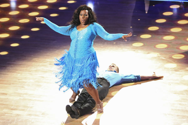 Amber Riley and Derek Hough, Elizabeth Berkley dance during the &#39;Switch-Up Challenge&#39; on Oct. 21, 2013. They received received 4 out of 4 extra points for it and earlier, they were given 28 out of 30 points from the judges for their Samba. <span class=meta>(ABC &#47; Adam Taylor)</span>