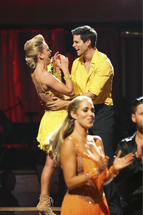 DANCING WITH THE STARS - &#34;Episode 1706&#34; - Eight remaining couples hit the dance floor and faced an exciting new challenge on &#34;Dancing with the Stars,&#34; MONDAY, OCTOBER 21 &#40;8:00-10:01 p.m., ET&#41;. At the end of the night, all couples awaited surprising elimination results. &#40;ABC&#47;Adam Taylor&#41; PETA MURGATROYD, BRANT DAUGHERTY <span class=meta>(ABC &#47; Adam Taylor)</span>