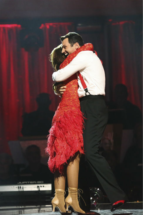 Leah Remini and Tony Dovolani react to being safe on week six of &#39;Dancing With The Stars&#39; on Oct. 21, 2013. They received 27 out of 30 points from the judges for their Quickstep. The two received 1 out of 4 extra points from the &#39;Switch-Up Challenge.&#39; <span class=meta>(ABC &#47; Adam Taylor)</span>