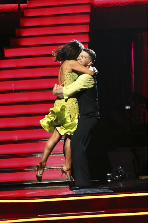 Jack Osbourne and Cheryl Burke react to being safe on week six of &#39;Dancing With The Stars&#39; on Oct. 21, 2013. They received 25 out of 30 points from the judges for their Paso Doble. The two received 2 out of 4 extra points from the &#39;Switch-Up Challenge.&#39; <span class=meta>(ABC &#47; Adam Taylor)</span>