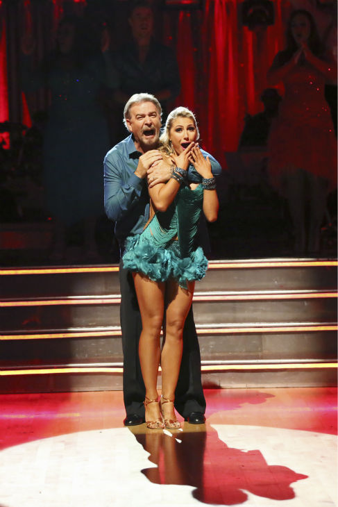 "<div class=""meta image-caption""><div class=""origin-logo origin-image ""><span></span></div><span class=""caption-text"">Bill Engvall and Emma Slater await their fate on week six of 'Dancing With The Stars' on Oct. 21, 2013. They received 23 out of 30 points from the judges for their Tango. The two received 1 out of 4 extra points from the 'Switch-Up Challenge.' (ABC / Adam Taylor)</span></div>"