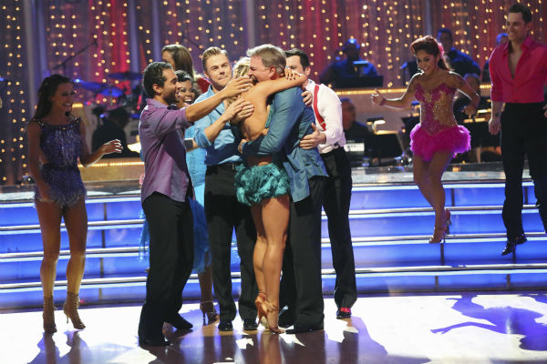 "<div class=""meta ""><span class=""caption-text "">Bill Engvall and Emma Slater, Corbin Bleu and other contestants react to being safe on week six of 'Dancing With The Stars' on Oct. 21, 2013. No couple was eliminated. (ABC / Adam Taylor)</span></div>"