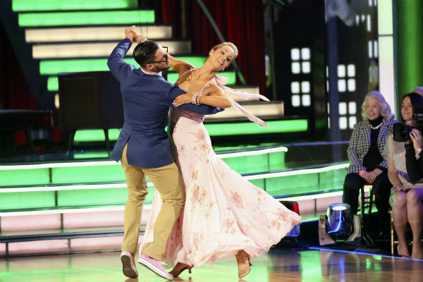 "<div class=""meta ""><span class=""caption-text "">Elizabeth Berkley and Val Chmerkovskiy dance the Quickstep on week seven of 'Dancing With The Stars' on Oct. 28, 2013. They received 27 out of 30 points from the judges. The two received 27 out of 30 extra points from the team dance. (ABC Photo/ Adam Taylor)</span></div>"