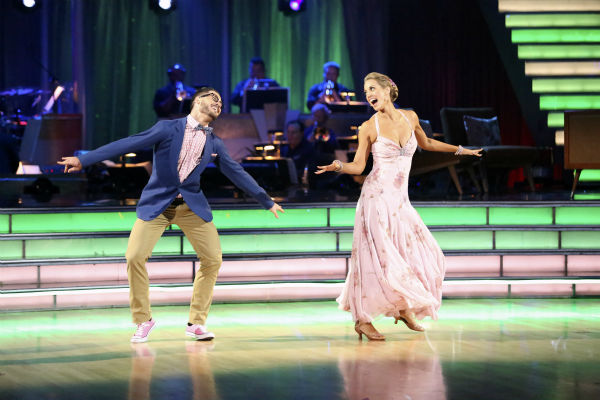 Elizabeth Berkley and Val Chmerkovskiy dance the Quickstep on week seven of 'Dancing With The Stars' on Oct. 28, 2013.