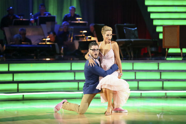 "<div class=""meta image-caption""><div class=""origin-logo origin-image ""><span></span></div><span class=""caption-text"">Elizabeth Berkley and Val Chmerkovskiy dance the Quickstep on week seven of 'Dancing With The Stars' on Oct. 28, 2013. They received 27 out of 30 points from the judges. The two received 27 out of 30 extra points from the team dance. (ABC Photo / Adam Taylor)</span></div>"