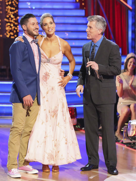 Elizabeth Berkley and Val Chmerkovskiy await their fate on week seven of &#39;Dancing With The Stars&#39; on Oct. 28, 2013. They received 27 out of 30 points from the judges for their Quickstep. The two received 27 out of 30 extra points from the team dance. <span class=meta>(ABC Photo &#47; Adam Taylor)</span>