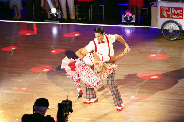 Brant Daugherty and Peta Murgatroyd dance the Jive on week seven of &#39;Dancing With The Stars&#39; on Oct. 28, 2013. They received 27 out of 30 points from the judges. The two received 30 out of 30 extra points from the team dance. <span class=meta>(ABC Photo &#47; Adam Taylor)</span>