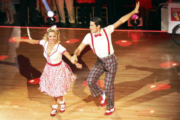 "<div class=""meta ""><span class=""caption-text "">Brant Daugherty and Peta Murgatroyd dance the Jive on week seven of 'Dancing With The Stars' on Oct. 28, 2013. They received 27 out of 30 points from the judges. The two received 30 out of 30 extra points from the team dance. (ABC Photo / Adam Taylor)</span></div>"