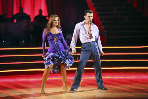 Leah Remini and Tony Dovolani dance the Salsa on week seven of &#39;Dancing With The Stars&#39; on Oct. 28, 2013. They received 26 out of 30 points from the judges. The two received 27 out of 30 extra points from the team dance. <span class=meta>(ABC Photo &#47; Adam Taylor)</span>