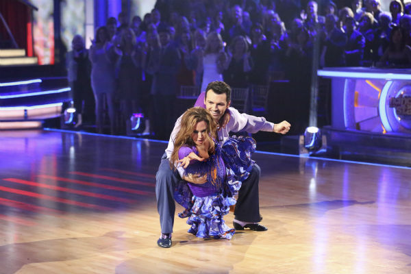 "<div class=""meta ""><span class=""caption-text "">Leah Remini and Tony Dovolani dance the Salsa on week seven of 'Dancing With The Stars' on Oct. 28, 2013. They received 26 out of 30 points from the judges. The two received 27 out of 30 extra points from the team dance. (ABC Photo / Adam Taylor)</span></div>"