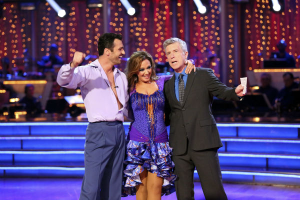 "<div class=""meta ""><span class=""caption-text "">Leah Remini and Tony Dovolani await their fate on week seven of 'Dancing With The Stars' on Oct. 28, 2013. They received 26 out of 30 points from the judges for their Salsa. The two received 27 out of 30 extra points from the team dance. (ABC Photo / Adam Taylor)</span></div>"