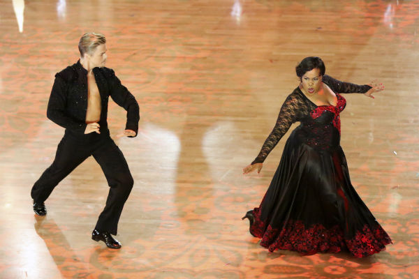 "<div class=""meta ""><span class=""caption-text "">Amber Riley and Derek Hough dance the Paso Doble on week seven of 'Dancing With The Stars' on Oct. 28, 2013. They received 29 out of 30 points from the judges. The two received 30 out of 30 extra points from the Team dance. (ABC Photo / Adam Taylor)</span></div>"