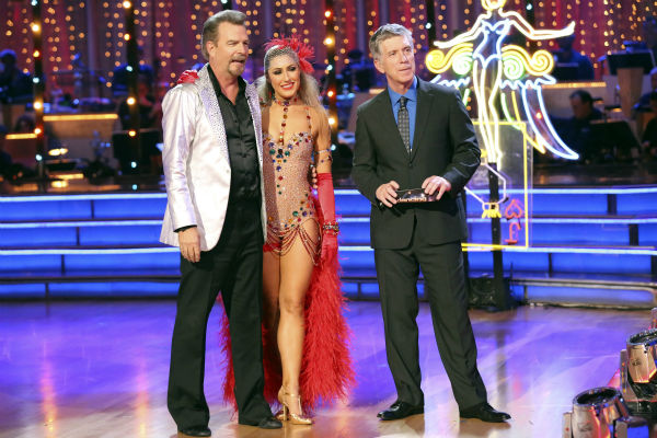 Bill Engvall and Emma Slater await their fate on week seven of &#39;Dancing With The Stars&#39; on Oct. 28, 2013. They received 23 out of 30 points from the judges for their Quickstep. The two received 27 out of 30 extra points from the team dance. <span class=meta>(ABC Photo &#47; Adam Taylor)</span>