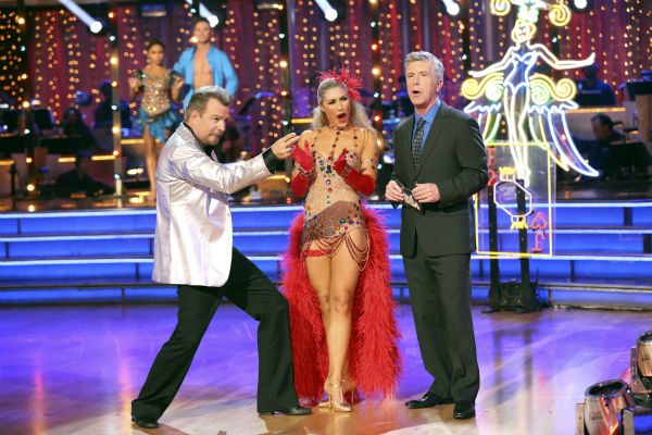 Bill Engvall and Emma Slater react to being safe on week seven of &#39;Dancing With The Stars&#39; on Oct. 28, 2013. They received 23 out of 30 points from the judges for their Quickstep. The two received 27 out of 30 extra points from the team dance. <span class=meta>(ABC Photo &#47; Adam Taylor)</span>