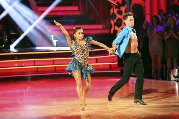 "<div class=""meta ""><span class=""caption-text "">Nicole 'Snooki' Polizzi and Sasha Farber dance the Samba on week seven of 'Dancing With The Stars' on Oct. 28, 2013. They received 28 out of 30 points from the judges. The two received 27 out of 30 extra points from the team dance. (ABC Photo / Adam Taylor)</span></div>"