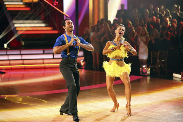 "<div class=""meta ""><span class=""caption-text "">Corbin Bleu and Karina Smirnoff dance the Cha Cha Cha on week seven of 'Dancing With The Stars' on Oct. 28, 2013. They received 29 out of 30 points from the judges. The two received 30 out of 30 extra points from the team dance. (ABC Photo / Adam Taylor)</span></div>"