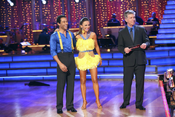"<div class=""meta image-caption""><div class=""origin-logo origin-image ""><span></span></div><span class=""caption-text"">Corbin Bleu and Karina Smirnoff await their fate on week seven of 'Dancing With The Stars' on Oct. 28, 2013. They received 29 out of 30 points from the judges for their Cha Cha Cha. The two received 30 out of 30 extra points from the team dance. (ABC Photo / Adam Taylor)</span></div>"