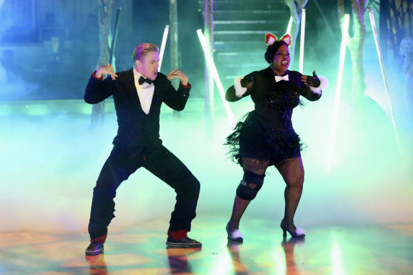 "<div class=""meta ""><span class=""caption-text "">Corbin Bleu, Brant Daugherty, Jack Osbourne and Amber Riley dance freestyle in a group to 'The Fox (What Does the Fox Say?)' on 'Dancing With The Stars' on Oct. 28, 2013. (ABC Photo / Adam Taylor)</span></div>"