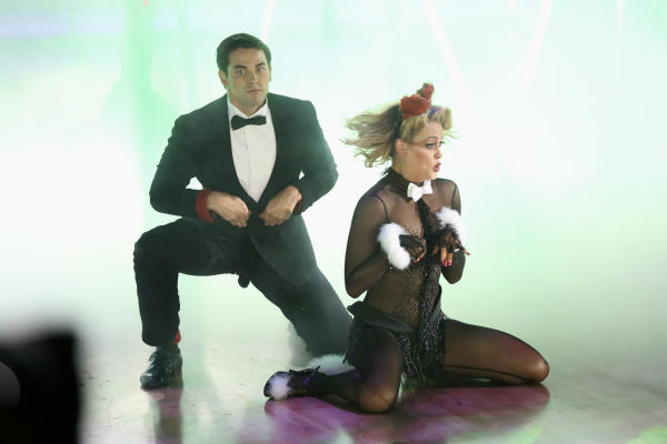 "<div class=""meta ""><span class=""caption-text "">Brant Daugherty and partner Peta Murgatroyd dance freestyle in a group to 'The Fox (What Does the Fox Say?)' on 'Dancing With The Stars' on Oct. 28, 2013. (ABC Photo / Adam Taylor)</span></div>"