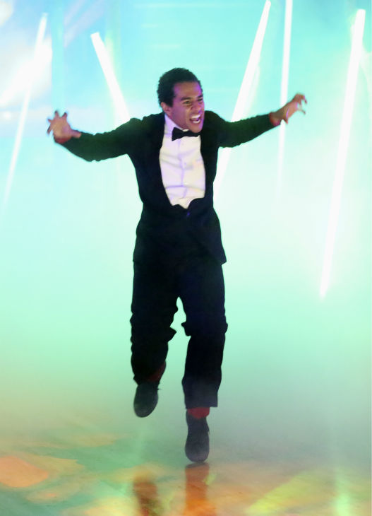 "<div class=""meta ""><span class=""caption-text "">Corbin Bleu dances freestyle in a group to 'The Fox (What Does the Fox Say?)' on 'Dancing With The Stars' on Oct. 28, 2013. (ABC Photo / Adam Taylor)</span></div>"