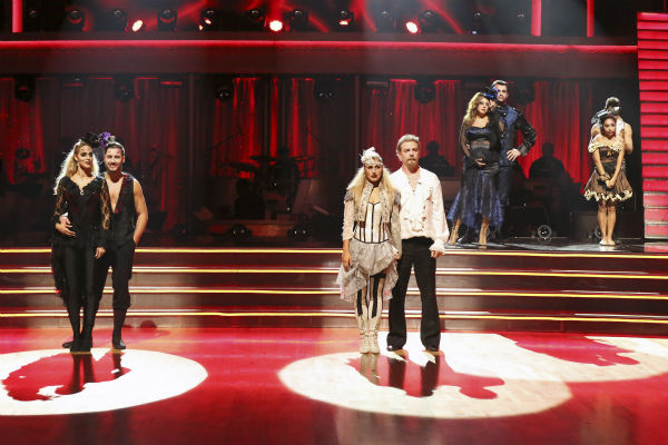 L-R: Elizabeth Berkley and ValChmerkovskiy, Bill Engvall and Emma Slater, Leah Remini and Tony Dovolani and Nicole &#39;Snooki&#39; Polizzi and Sasha Farber await their fate on week seven of &#39;Dancing With The Stars&#39; on Oct. 28, 2013. <span class=meta>(ABC Photo &#47; Adam Taylor)</span>