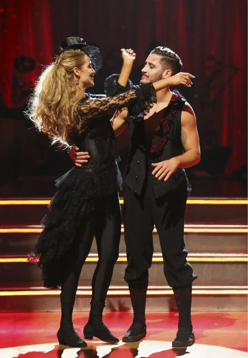 "<div class=""meta image-caption""><div class=""origin-logo origin-image ""><span></span></div><span class=""caption-text"">Elizabeth Berkley and Val Chmerkovskiy react to being safe on week seven of 'Dancing With The Stars' on Oct. 28, 2013. They received 27 out of 30 points from the judges for their Quickstep. The two received 27 out of 30 extra points from the team dance. (ABC Photo / Adam Taylor)</span></div>"