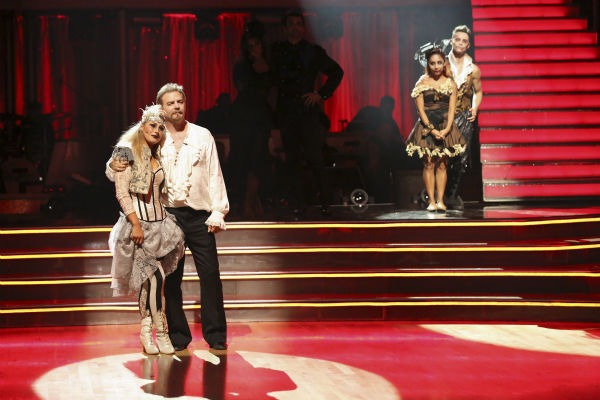"<div class=""meta image-caption""><div class=""origin-logo origin-image ""><span></span></div><span class=""caption-text"">Bill Engvall and Emma Slater await their fate on week seven of 'Dancing With The Stars' on Oct. 28, 2013. They received 23 out of 30 points from the judges for their Quickstep. The two received 27 out of 30 extra points from the team dance. (ABC Photo / Adam Taylor)</span></div>"