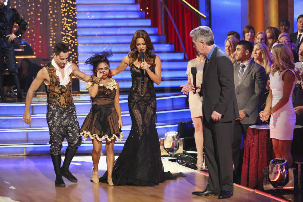 "<div class=""meta image-caption""><div class=""origin-logo origin-image ""><span></span></div><span class=""caption-text"">Nicole 'Snooki' Polizzi and Sasha Farber react to being eliminated on week seven of 'Dancing With The Stars' on Oct. 28, 2013. They received 28 out of 30 points from the judges for their Samba. The two received 27 out of 30 extra points from the team dance. (ABC Photo/ Adam Taylor)</span></div>"