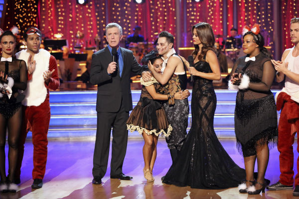 "<div class=""meta ""><span class=""caption-text "">Nicole 'Snooki' Polizzi and Sasha Farber react to being eliminated on week seven of 'Dancing With The Stars' on Oct. 28, 2013. They received 28 out of 30 points from the judges for their Samba. The two received 27 out of 30 extra points from the team dance. (ABC Photo / Adam Taylor)</span></div>"