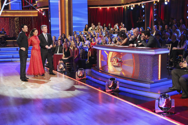 Leah Remini and Tony Dovolani await their fate on week nine of &#39;Dancing With The Stars&#39; on Nov. 11, 2013. They received 27 out of 30 points from the judges for their Tango. The two later received 27 out of 30 during the trio round with Henry Byalikov. <span class=meta>(ABC Photo &#47; Adam Taylor)</span>