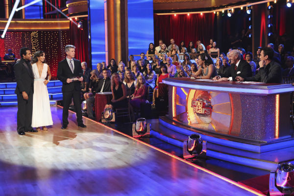 "<div class=""meta ""><span class=""caption-text "">Corbin Bleu and Karina Smirnoff await their fate on week nine of 'Dancing With The Stars' on Nov. 11, 2013. They received 27 out of 30 points from the judges for their Waltz. The two later received 30 out of 30 during the trio round with Witney Carson. (ABC Photo / Adam Taylor)</span></div>"