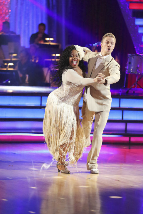"<div class=""meta image-caption""><div class=""origin-logo origin-image ""><span></span></div><span class=""caption-text"">Amber Riley and Derek Hough dance the Quickstep on week nine of 'Dancing With The Stars' on Nov. 11, 2013. They received 24 out of 30 points from the judges.  The two later received 27 out of 30 for during the trio round with Mark Ballas. (ABC Photo / Adam Taylor)</span></div>"
