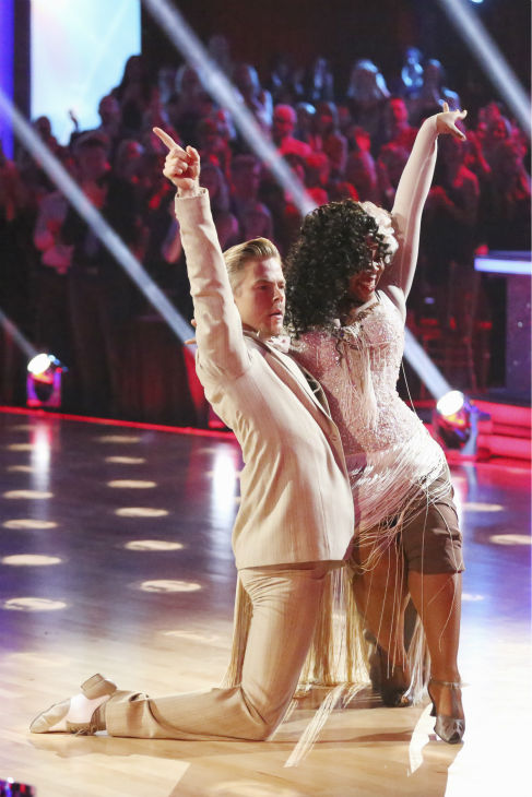 "<div class=""meta ""><span class=""caption-text "">Amber Riley and Derek Hough dance the Quickstep on week nine of 'Dancing With The Stars' on Nov. 11, 2013. They received 24 out of 30 points from the judges.  The two later received 27 out of 30 for during the trio round with Mark Ballas. (ABC Photo / Adam Taylor)</span></div>"
