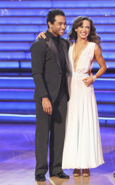 Corbin Bleu and Karina Smirnoff await their fate on week nine of &#39;Dancing With The Stars&#39; on Nov. 11, 2013. They received 27 out of 30 points from the judges for their Waltz. The two later received 30 out of 30 during the trio round with Witney Carson. <span class=meta>(ABC Photo &#47; Adam Taylor)</span>