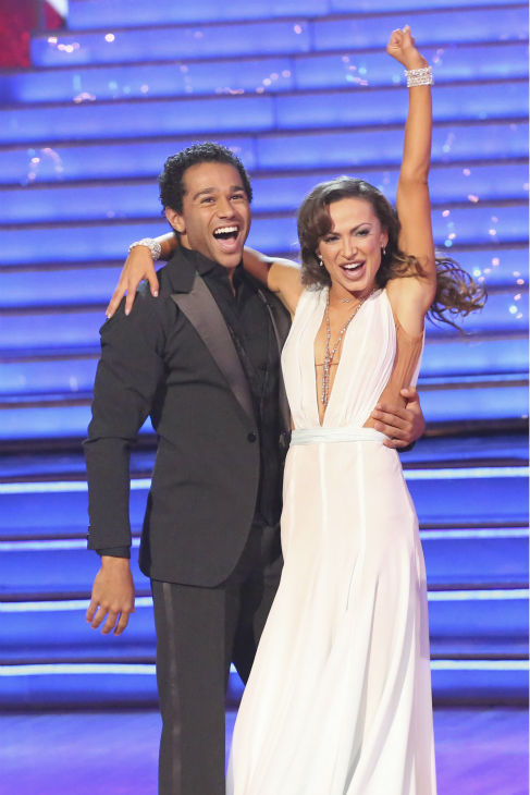 "<div class=""meta image-caption""><div class=""origin-logo origin-image ""><span></span></div><span class=""caption-text"">Corbin Bleu and Karina Smirnoff react to being safe on week nine of 'Dancing With The Stars' on Nov. 11, 2013. They received 27 out of 30 points from the judges for their Waltz. The two later received 30 out of 30 during the trio round with Witney Carson. (ABC Photo / Adam Taylor)</span></div>"