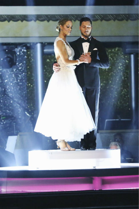 Elizabeth Berkley and Val Chmerkovskiy await their fate on week nine of &#39;Dancing With The Stars&#39; on Nov. 11, 2013. They received 26 out of 30 points from the judges for their Viennese Waltz routine. The two later received 30 out of 30 during the trio round with Gleb Savchenko. <span class=meta>(ABC Photo &#47; Adam Taylor)</span>