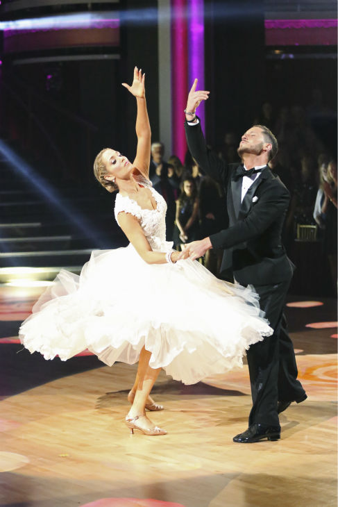 "<div class=""meta ""><span class=""caption-text "">Elizabeth Berkley and Val Chmerkovskiy dance the Viennese Waltz on week nine of 'Dancing With The Stars' on Nov. 11, 2013. They received 26 out of 30 points from the judges.  The two later received 30 out of 30 during the trio round with Gleb Savchenko. (ABC Photo / Adam Taylor)</span></div>"