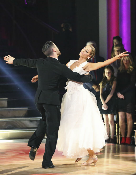 Elizabeth Berkley and Val Chmerkovskiy dance the Viennese Waltz on week nine of &#39;Dancing With The Stars&#39; on Nov. 11, 2013. They received 26 out of 30 points from the judges.  The two later received 30 out of 30 during the trio round with Gleb Savchenko. <span class=meta>(ABC Photo &#47; Adam Taylor)</span>
