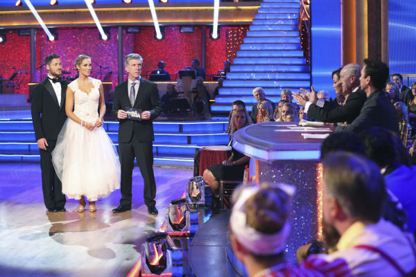 Elizabeth Berkley and Val Chmerkovskiy danced the Viennese Waltz on week nine of &#39;Dancing With The Stars&#39; on Nov. 11, 2013. They received 26 out of 30 points from the judges. The two later received 30 out of 30 during the trio round with Gleb Savchenko. <span class=meta>(ABC Photo &#47; Adam Taylor)</span>