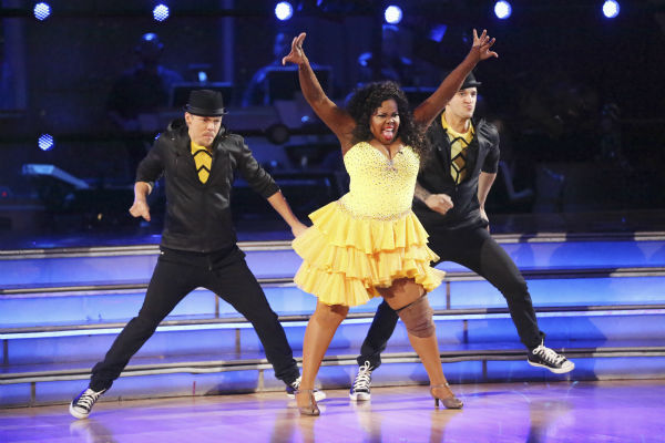 "<div class=""meta image-caption""><div class=""origin-logo origin-image ""><span></span></div><span class=""caption-text"">Amber Riley and Derek Hough dance the Salsa with Mark Ballas and received 27 out of 30 during the trio round on week nine of 'Dancing With The Stars' on Nov. 11, 2013. Earlier in the episode the two received 24 out of 30 for their Quickstep. (ABC Photo / Adam Taylor)</span></div>"