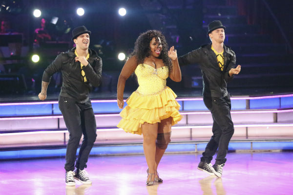 Amber Riley and Derek Hough dance the Salsa with Mark Ballas and received 27 out of 30 during the trio round on week nine of &#39;Dancing With The Stars&#39; on Nov. 11, 2013. Earlier in the episode the two received 24 out of 30 for their Quickstep. <span class=meta>(ABC Photo &#47; Adam Taylor)</span>