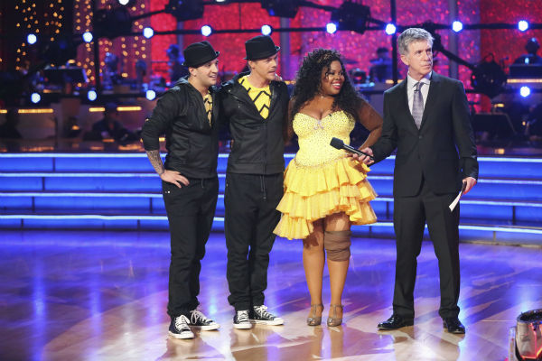 Amber Riley and Derek Hough await their fate on week nine of &#39;Dancing With The Stars&#39; on Nov. 11, 2013. They received 28 out of 30 points from the judges for their Quickstep. The two later received 27 out of 30 for during the trio round with Mark Ballas. <span class=meta>(ABC Photo &#47; Adam Taylor)</span>