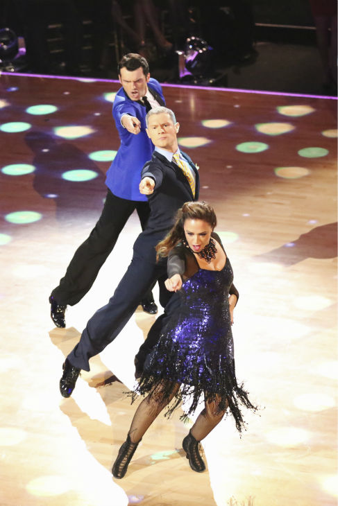 Leah Remini and Tony Dovolani dance the Jive with Henry Byalikov and received 27 out of 30 during the trio round on week nine of &#39;Dancing With The Stars&#39; on Nov. 11, 2013. Earlier in the episode the two received 27 out of 30 for their Tango. <span class=meta>(ABC Photo &#47; Adam Taylor)</span>